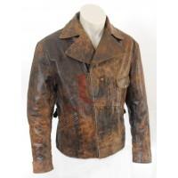 Distressed La Snake Plissken Leather Jacket