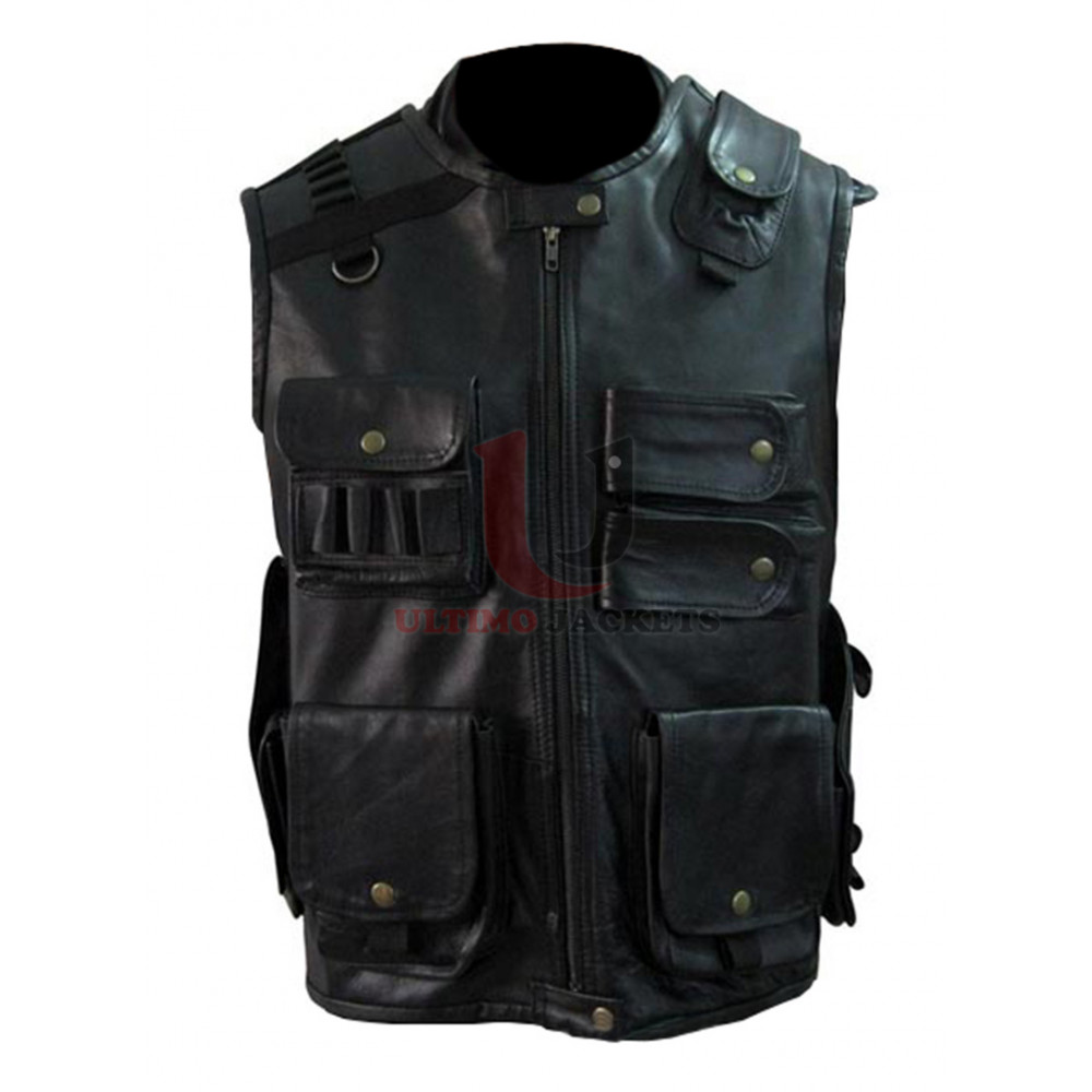 Roman Reigns Tactical WWE Star Leather Vest