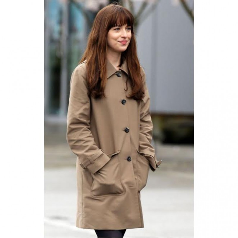 Anastasia Steele Light Brown And Black Trench Coat Long Jacket ...