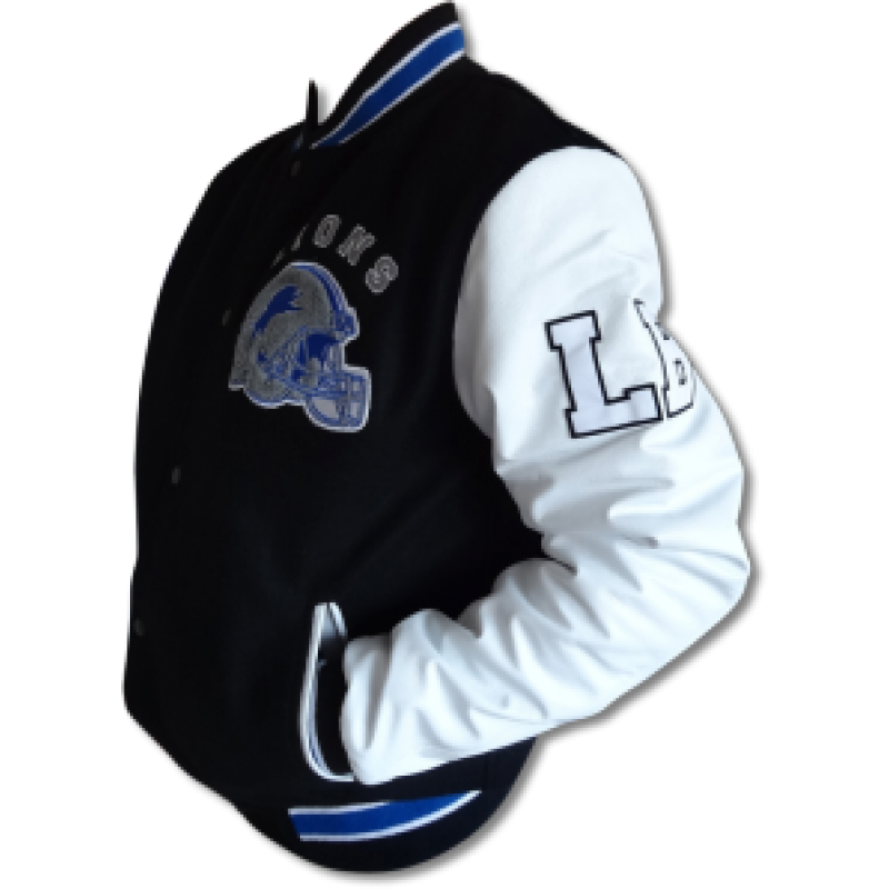 Black and White Letterman Detroit Lions Jacket l Movies leather ...