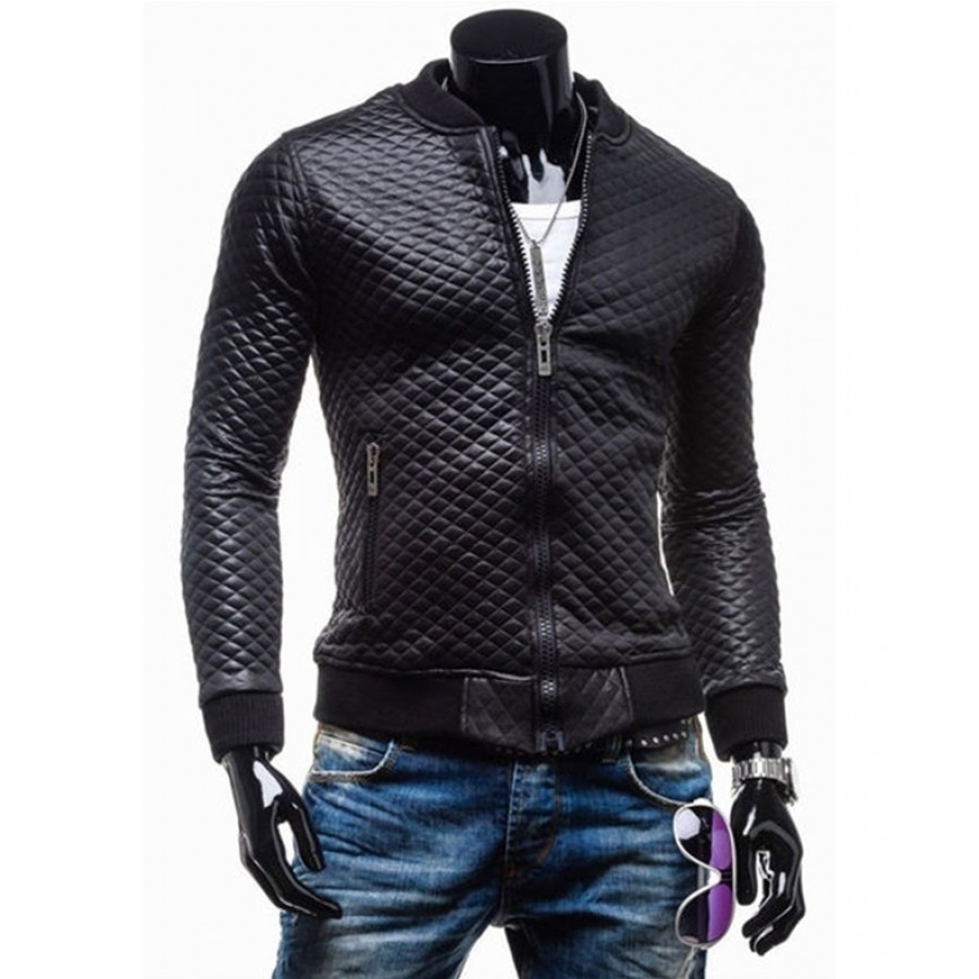 Slim leather jacket for men