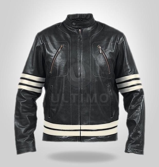Men S Black White Stripes Bomber Genuine Leather Jacket