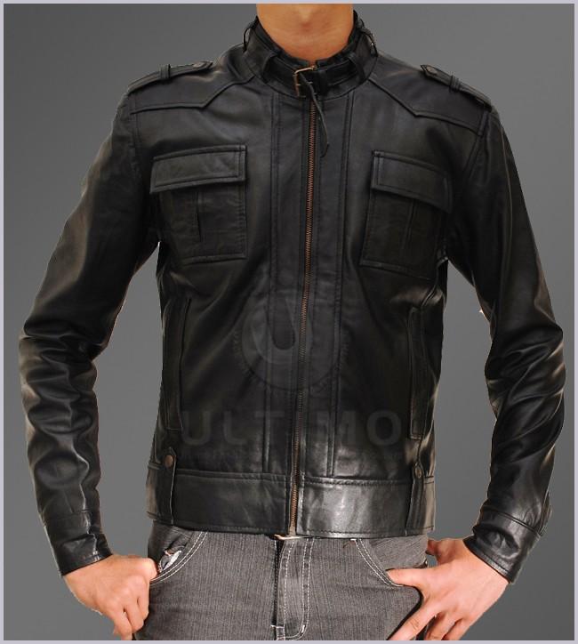 Slim Fit Mens Button Pocket Black Leather Jacket