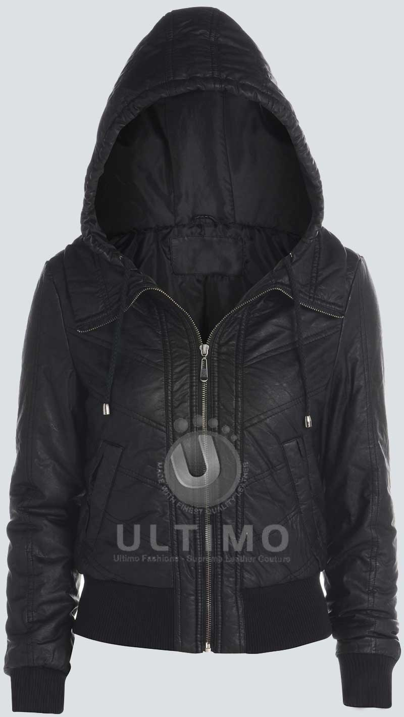 Womens bomber jacket with hood