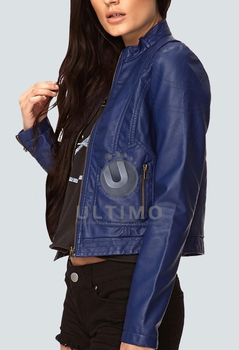 Female leather bomber jacket