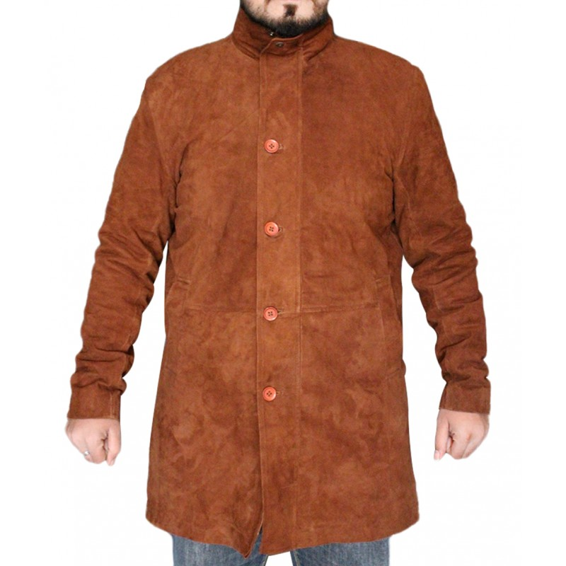 12e41c89d Brown Robert Sheriff Long Mire Leather Jacket