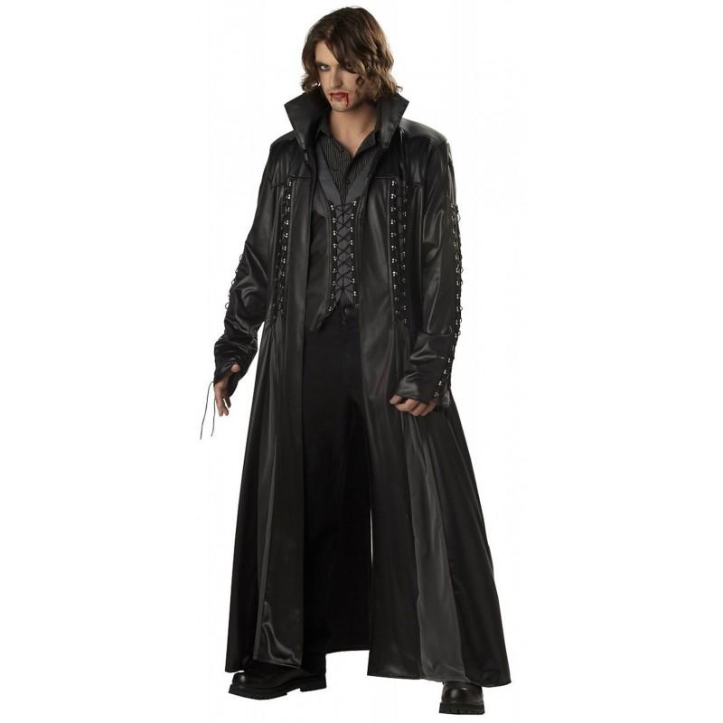 California Baron Von BloodShed Black Leather Long Coat For Mens