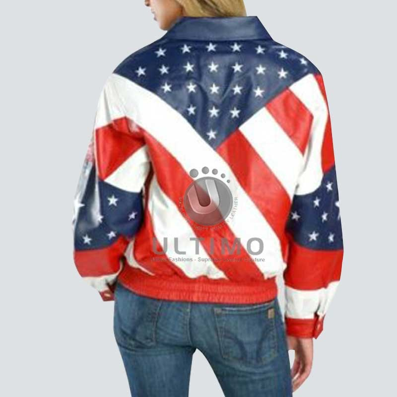 0a6a0a0ed23 80  Off - American USA banner Leather Jacket For Women