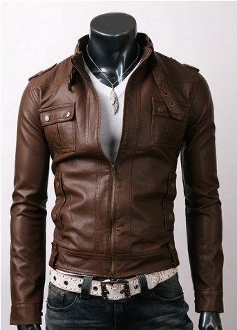 Men S Light Brown Slim Fit Stylish Leather Jacket