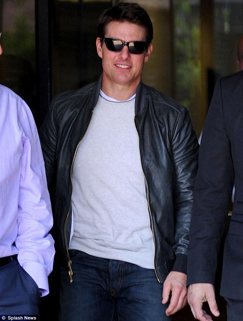 Celebrity Party Tom Cruise Black Leather Jacket